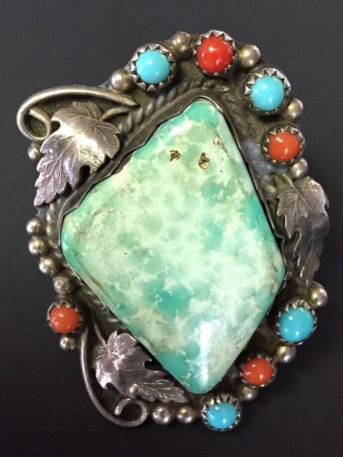 ANTIQUE RING GREEN TURQUOISE STERLING SILVER NAVAJO INDIAN NATIVE SIGNED Sz10.5