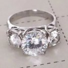 VINTAGE RING 6TCW ROUND CUT FIANIT STERLING SILVER 925 Sz 5.75