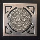 ANTIQUE PENDANT BROOCH PIN AZTEC MAYAN CALENDAR STERLING SILVER ART DECO