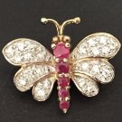 VINTAGE BUTTERFLY BROOCH PIN RUBY CRYSTAL VERMEIL GOLD OVER STERLING SILVER