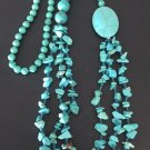 VINTAGE WOMEN BEADED NECKLACE BLUE TURQUOISE HANDMADE