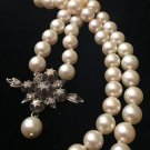 ANTIQUE NATURAL PEARL NECKLACE ROSE CUT DIAMOND 14K GOLD SILVER VICTORIAN 19C