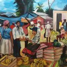 HAITIAN ART MARKETPLACE PAINTING OIL ON CANVAS SIGNED LISTED ARTIST
