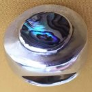 ANTIQUE MASSIVE RING ABALONE SOLID STERLING SILVER 925 WIDE Sz 7.5 ART DECO