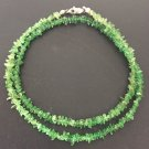 VINTAGE BEADED GREEN EMERALD NECKLACE STERLING SILVER CLASP