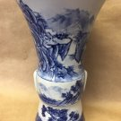 VINTAGE PORCELAIN JAPANESE VASE BLUE WHITE HAND PAINTED NATURE SIGNED