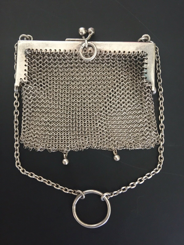 ANTIQUE WOMEN MESH COIN PURSE SMALL BAG STERLING SILVER ENGLAND BIRMINGHAM 19C