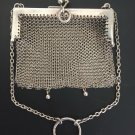 ANTIQUE WOMEN MESH COIN PURSE SMALL BAG STERLING SILVER ENGLAND BIRMINGHAM 19C