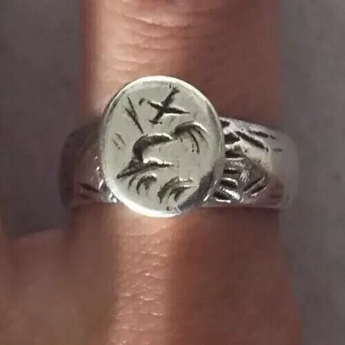 ANTIQUE SEAL RING SOLID SILVER W INITIALS FRANCE 18th CENTURY Sz6.15
