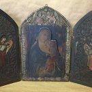 EXQUISITE ANTIQUE CHRISTIAN TRIPTYCH ICON MOTHER VIRGIN MADONNA JESUS 17C WOOD