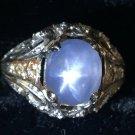 ANTIQUE RING 1.5ct CABOUCHON STAR SAPPHIRE DIAMONDS PLATINUM Sz 4,5 ART DECO