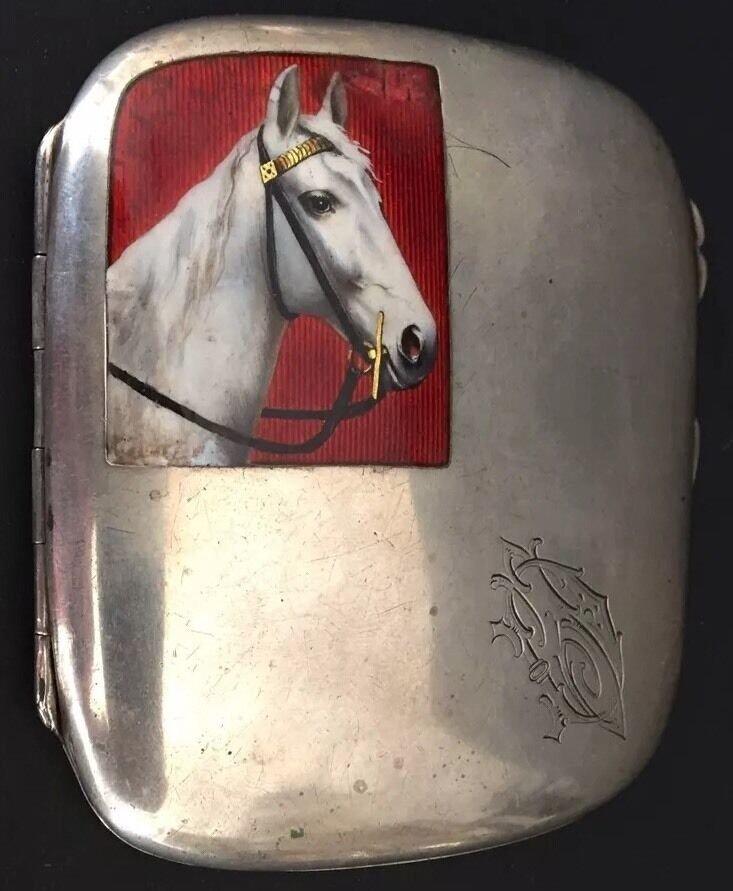 ANTIQUE CIGARETTE BOX HOLDER 800 SILVER ENAMEL HORSE PICTURE MONO FRANCE 19c