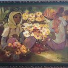 EXSPRESSIONIST ROGER SAN MIGUEL FLORES OIL ON CANVAS PAINTING 1960s PHILIPPINES