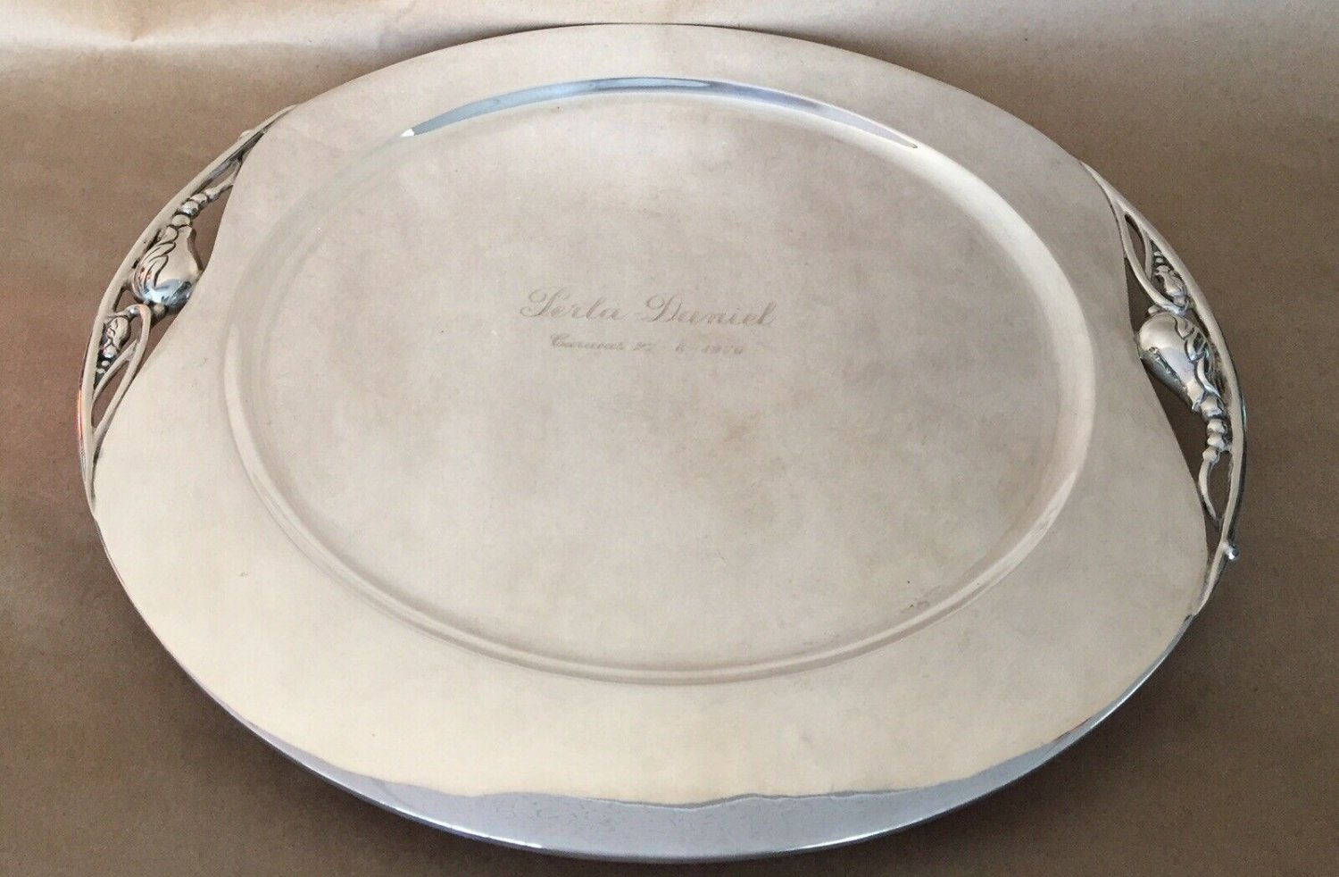 ANTIQUE ACEVES SERVING TRAY PLATTER STERLING SILVER 925 TULIPS Art Deco