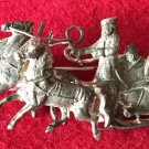 ANTIQUE BROOCH 84 SILVER 1800s  IMPERIAL RUSSIAN TROIKA COSSACK 3 HORSES SLEIGH