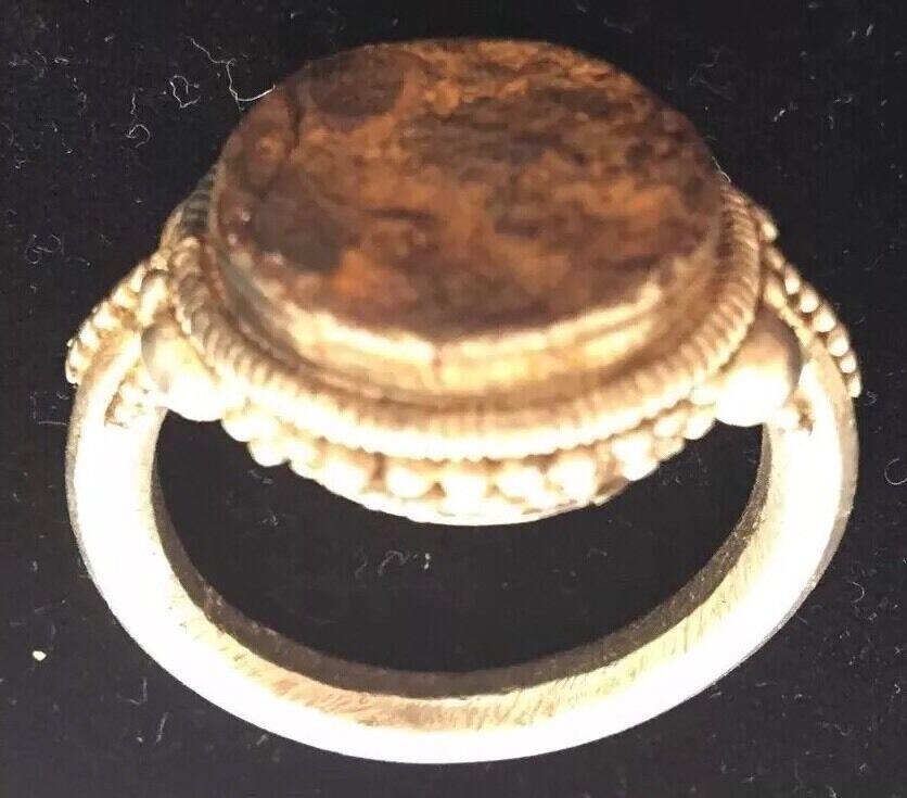 ANCIENT ROMAN SEAL RING SILVER 100-200 B.C. ORIGINAL RARE EXQUISITE