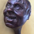 ANTIQUE TOBACCO PIPE WOOD CARVED MAHOGANY HAND MADE MAN FACE ENGLAND 19C