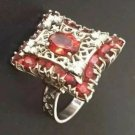 $18,000 ANTIQUE RING 1.52tcw MANDARIN GARNETS DIAMONDS 14K WHITE GOLD ART DECO