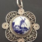 ANTIQUE PENDANT FILIGREE SILVER HAND PAINTED VINDMILL ON PORCELAIN ART NOUVEAU