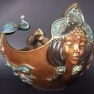ALEXANDER DANEL PEACOCK LADY BRONZE BOWL GOLD ENAMEL 1992 LIMITED EDITION ICARUS