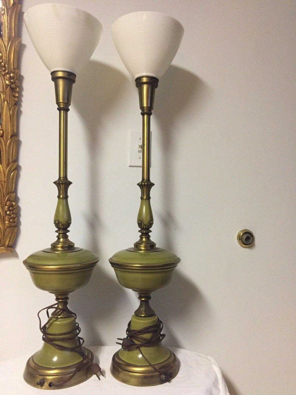 ANTIQUE LAMPS PAIR GREEN ENAMEL WHITE MILK GLASS BRASS ORIGINAL ART DECO '20s