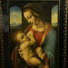 ANTIQUE RUSSIAN PALEKH MADONNA LITTA PAINTING ICON LACQUER WOOD INSPIRED BY LEONARDO DA VINCI