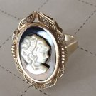 VINTAGE SETA CAMEO RING MOTHER OF PEARL ONYX GOLD ON STERLING SILVER 925 Sz10.25