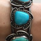 VINTAGE CUFF BRACELET NAVAJO NATIVE INDIAN 3 BLUE TURQUOISES STERLING SILVER