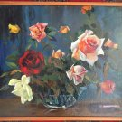 E.G. DELGADO PAINTING OIL ON BOARD ROSES AND CIGARETTE STILL LIFE ORIGINAL ART