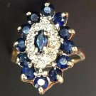 ANTIQUE WOMEN COCKTAIL RING BLUE SAPPHIRES DIAMONDS 10K YELLOW GOLD