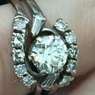 ANTIQUE VINTAGE ENGAGEMENT RING 1.50tcw DIAMOND 585/14K WHITE GOLD Sz5.5 ESTATE