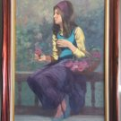 PHILIPPE ALFIERI GIRL WITH ROSES PAINTING OIL ON CANVAS SIGNED 1960s ITALIAN