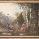 AFTER EDMUND H. OSTHAUS HUNTING DOG PAINTING OIL ON CANVAS MASTER FINE ART