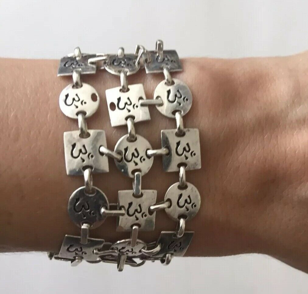 Antique RARE OM AUM Buddhist Nepal Hindu Yoga Sterling S. Wide Women Bracelet