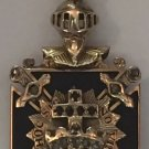 Antique Masonic Knight 32nd Degree Diamonds Onyx 14K Gold Pendant Medallion