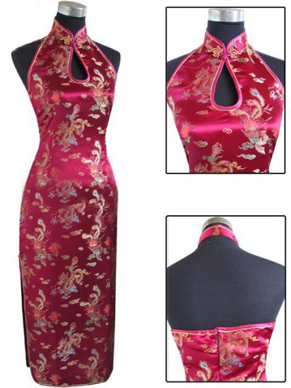 Burgundy Chinese Backless Evening Gown/Qipao