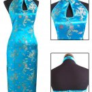 Lake Blue Chinese Backless Evening Gown/Qipao
