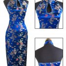 Navy Blue Chinese Backless Evening Gown/Qipao