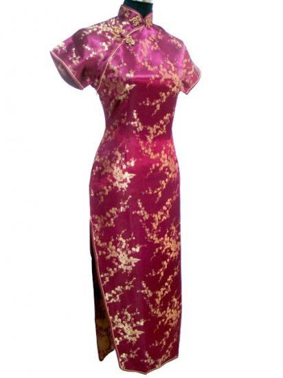 Burgundy Clubs Chinese Dress Cheong-sam/Qipao