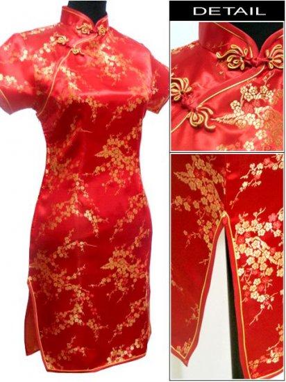 Red Cute Clubs Mini Chinese Dress / Qipao