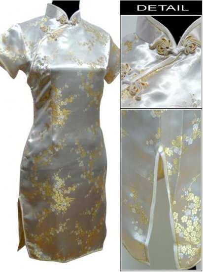 Yellowy Cute Clubs Mini Chinese Dress / Qipao