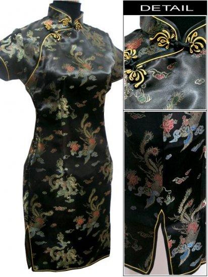 Black Gragon and Phoenix Mini Chinese Dress / Qipao