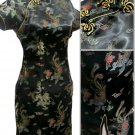 Black Gragon and Phoenix Mini Chinese Dress / Qipao