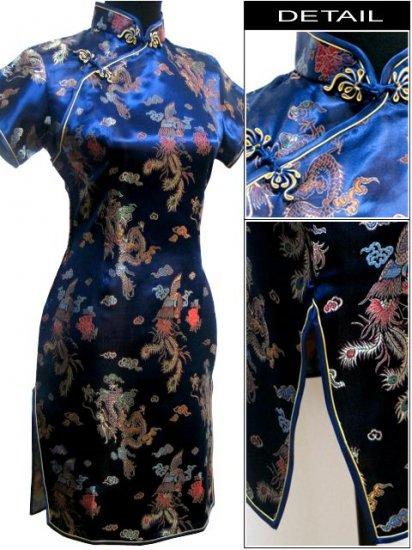 Blue Gragon and Phoenix Mini Chinese Dress / Qipao