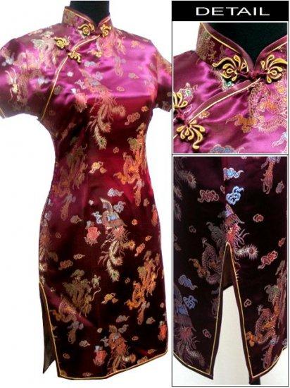 Burgundy  Gragon and Phoenix Mini Chinese Dress / Qipao
