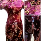 Burgundy  Gragon and Phoenix Mini Chinese Dress / Qipao