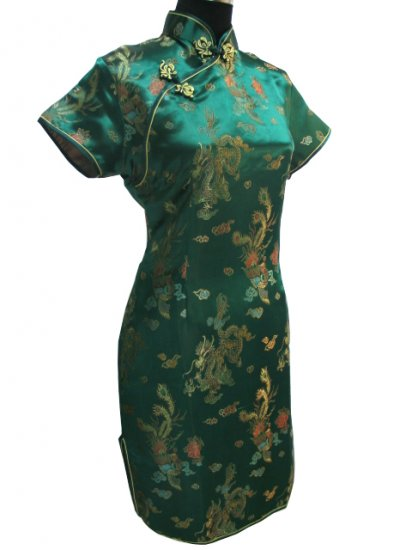 Green Gragon and Phoenix Mini Chinese Dress / Qipao