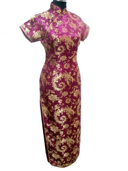 Burgundy Phenix tail Chinese Dress Evening Gown [CDL-04BY]