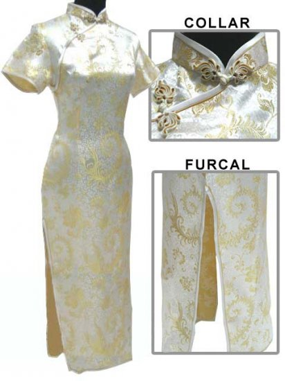 Yellow Grace Phenix tail Chinese Dress Evening Gown [CDL-04YW]