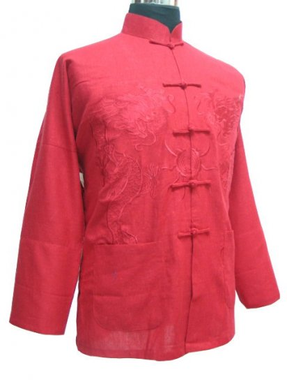 Red  Chinese Dragon Kung-fu Jacket [CMJ-01RD]